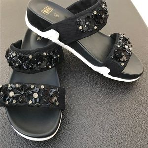 Ash Oman Flowers Embellished Slide Sandals